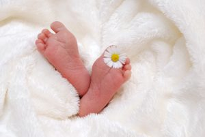 babys-feet-in-blanket-with-daisy